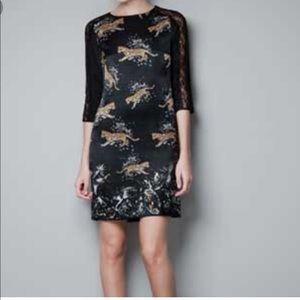 Zara Woman Black Leopard Diamond Print Silk Dress